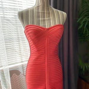 BCBGMaxazria Women's Pink Strapless Bandage Dress